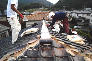 瓦屋根 棟の撤去・新設工事